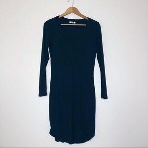 LNA black ribbed knit v neck dress double lined